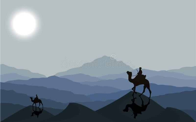 Husvagn med kamel på natten stock illustrationer