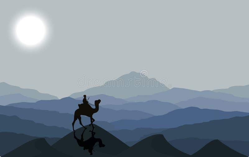 Husvagn med kamel på natten royaltyfri illustrationer