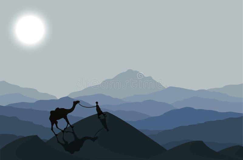 Husvagn med kamel på natten vektor illustrationer
