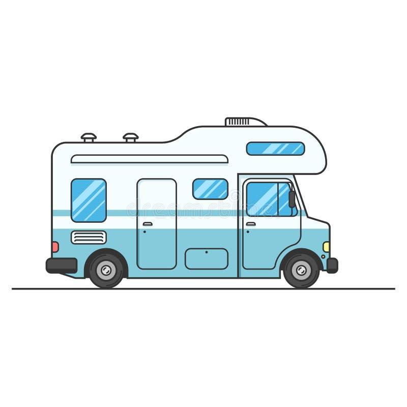 Husvagn skåpbil tecken som isoleras på vit stock illustrationer