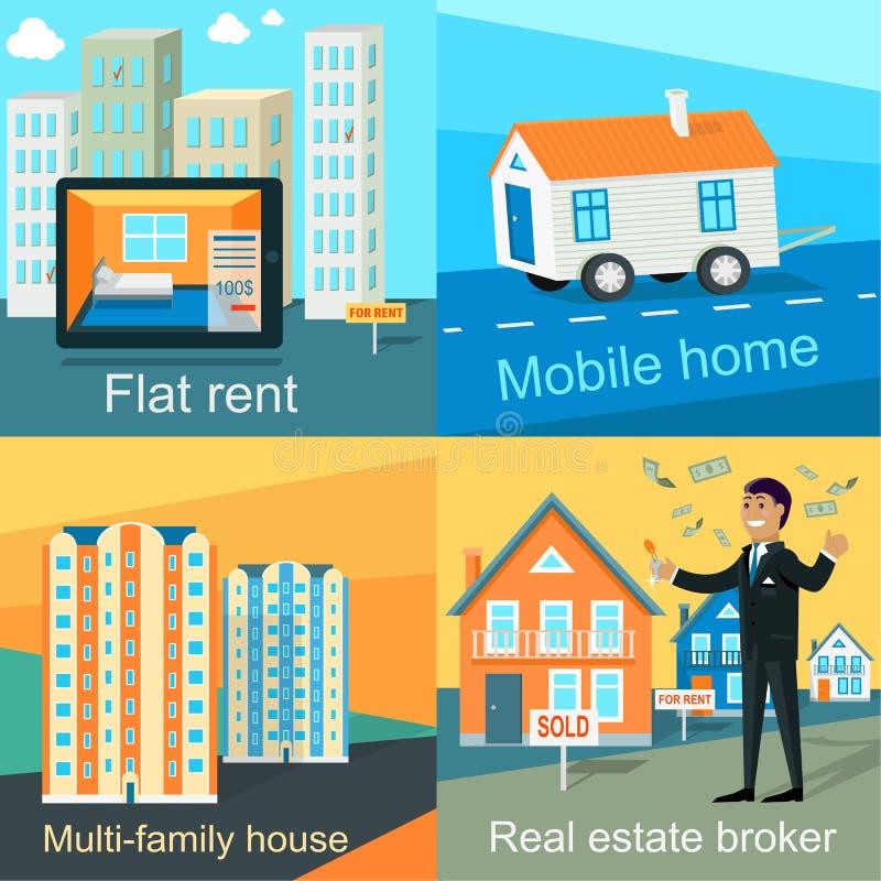 Husvagn som används som permanent hem lägenhethyra, Mång--familj hus royaltyfri illustrationer