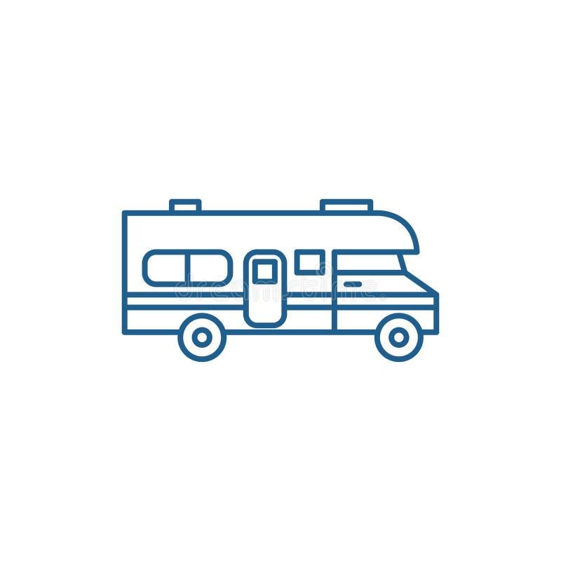 Husvagnbillinje symbolsbegrepp Symbol för vektor för husvagnbil plant, tecken, översiktsillustration vektor illustrationer
