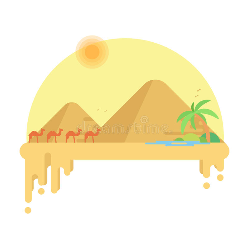 Husvagnen av kamel går till oasen mot bakgrunden av pyramider av giza stock illustrationer