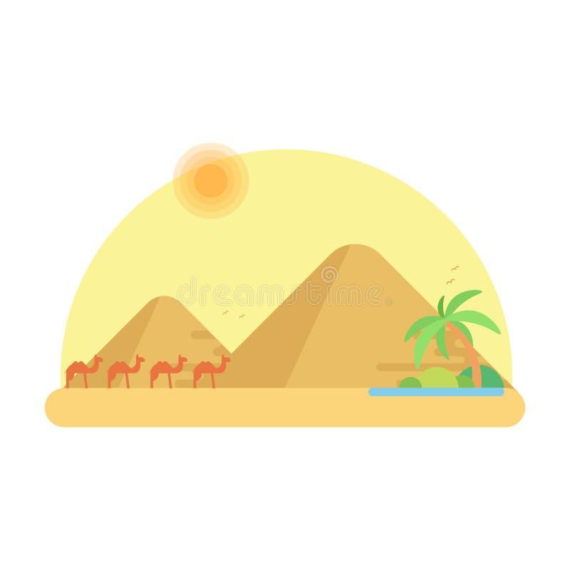Husvagnen av kamel går till oasen mot bakgrunden av pyramider av giza royaltyfri illustrationer
