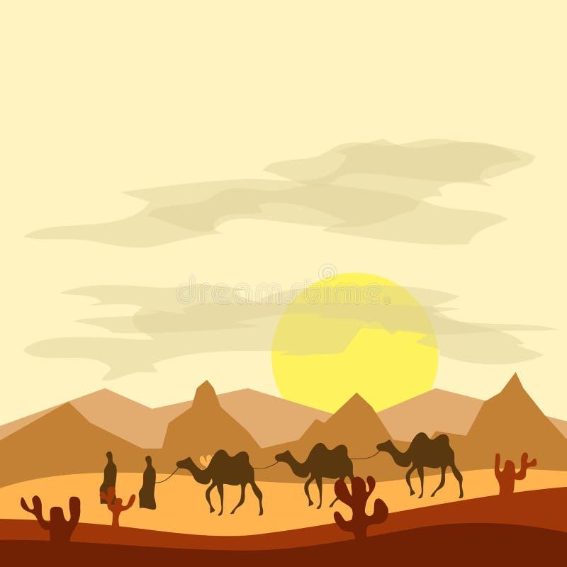 Husvagnen av kamel i öknen, beduiner leder kamel till och med öknen vektor illustrationer