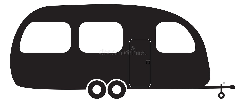 Husvagnkontur stock illustrationer