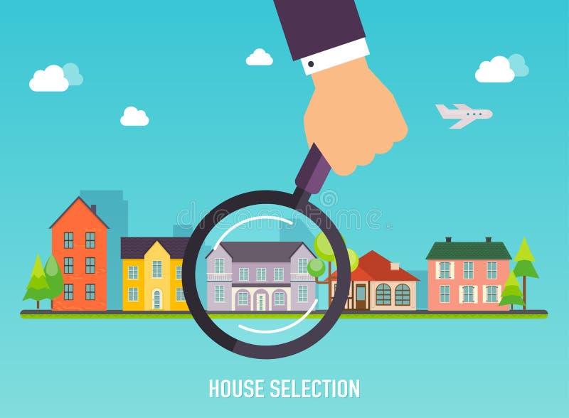 Husval Förstoringsglas med huset Begrepp för rengöringsduklodisar vektor illustrationer