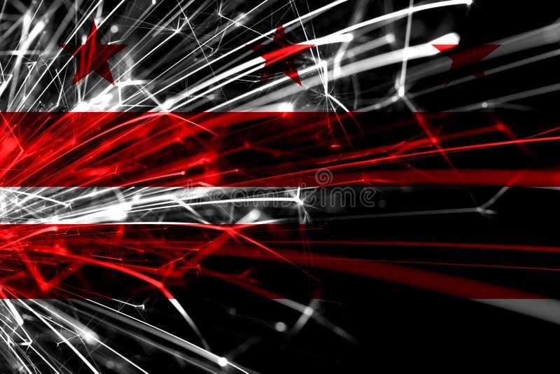 huswashington för c D white C-abstrakt begreppfyrverkerier som mousserar flaggan Nytt år, jul och begrepp för nationell dag Ameri royaltyfri bild