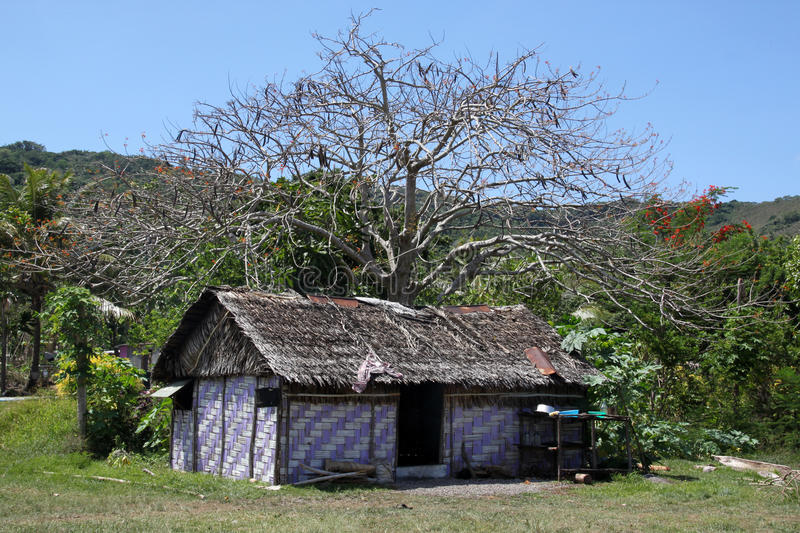 Hut. Under the tree in Efate island, Vanuatu royalty free stock photography