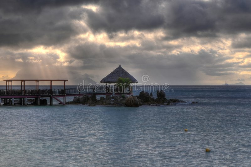 Hut. HDR picture of hut in Mahe island, Seychelles stock photos