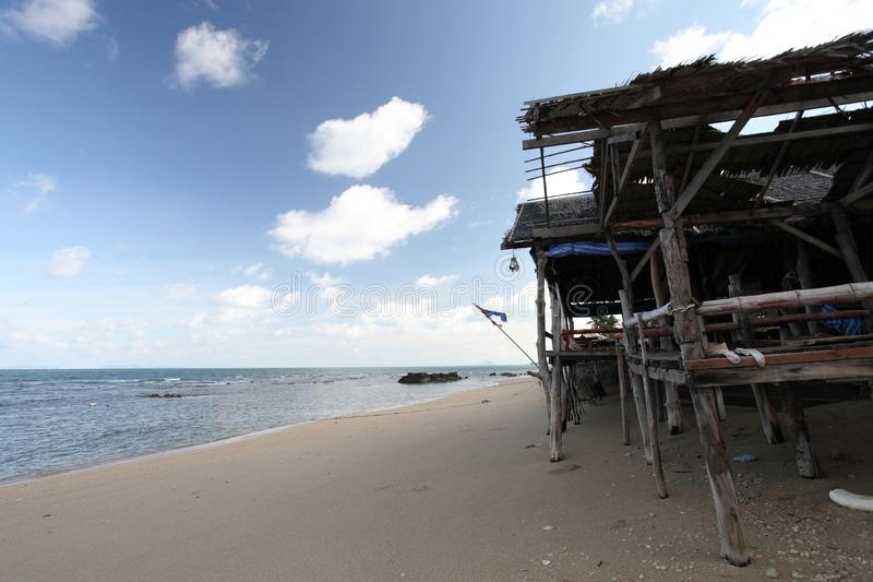 Hut with beach. With blue sky royalty free stock photo