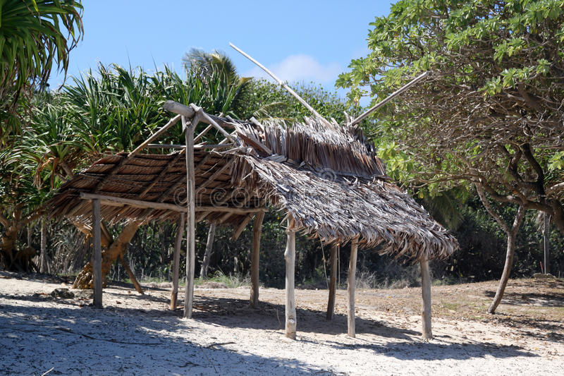 Hut on the beach. In Efate, Vanuatu royalty free stock photos