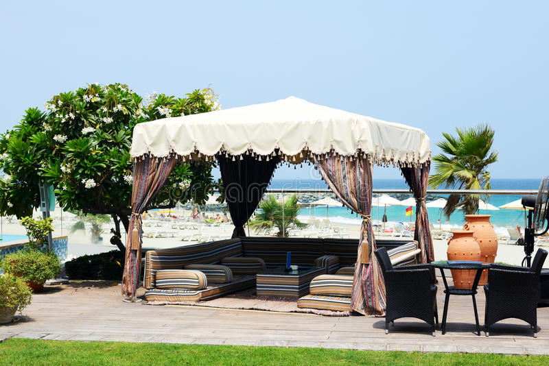 Hut at the beach at luxury hotel