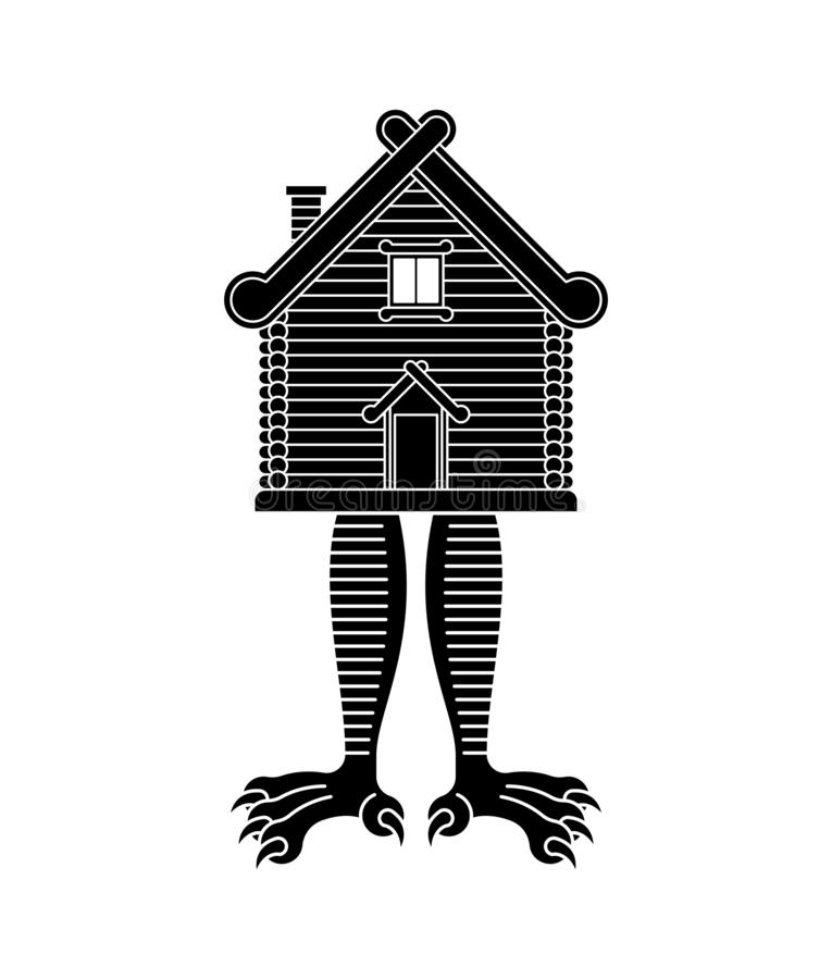 Hut on chicken legs. Russian traditional wood home. Baba Yaga house vector illustration