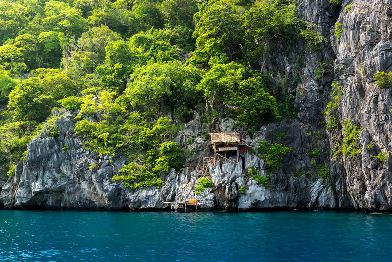 Hut on the cliff at Island of kawthaung Myanmar, The border town. Near Ranong, Thailand royalty free stock image