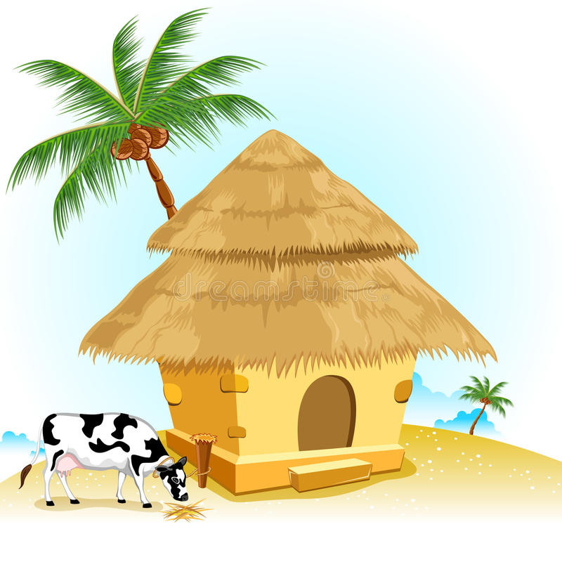 Hut with Cow royalty free illustration