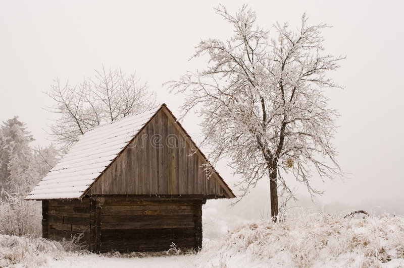 Hut in de sneeuw stock foto