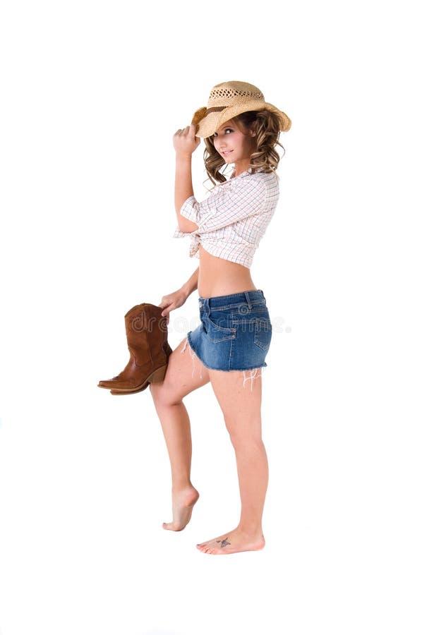 Hut, der Cowgirl spitzt lizenzfreie stockfotografie