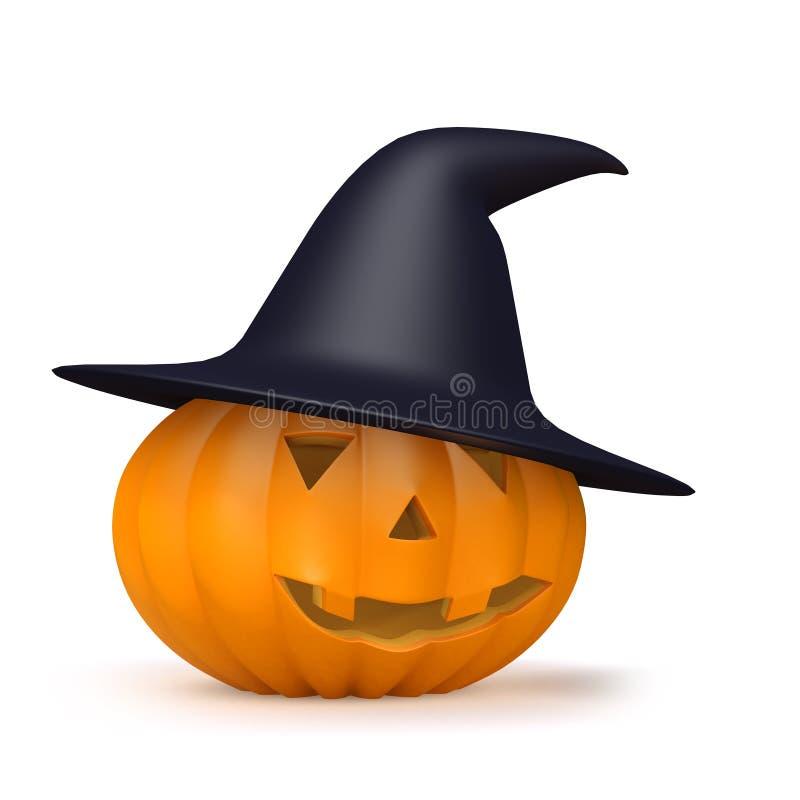 Hut der Hexen 3d auf einem Halloween-Kürbis vektor abbildung