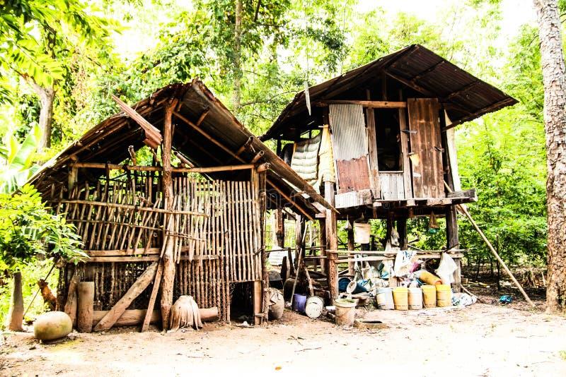 The Hut at farm Mahasarakham in Thailand. Villang building royalty free stock photos