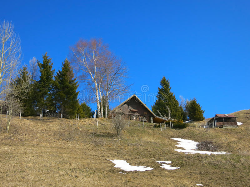 Hut in the French alps. Hill house in Les Sybelles ski slopes in France stock image