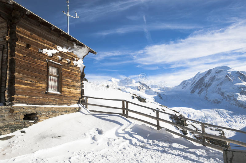 Hut on the Gornergrat. With Monterosa in background royalty free stock photos