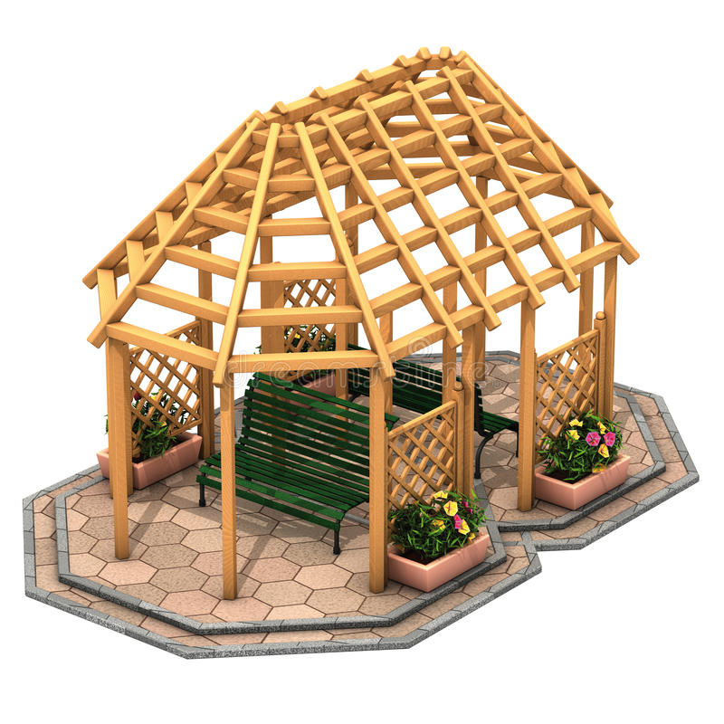Hut houten gazebo stock illustratie
