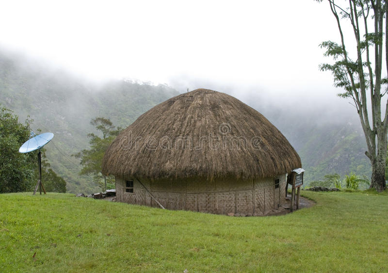 hut in an Indonesian mountain village stock photo