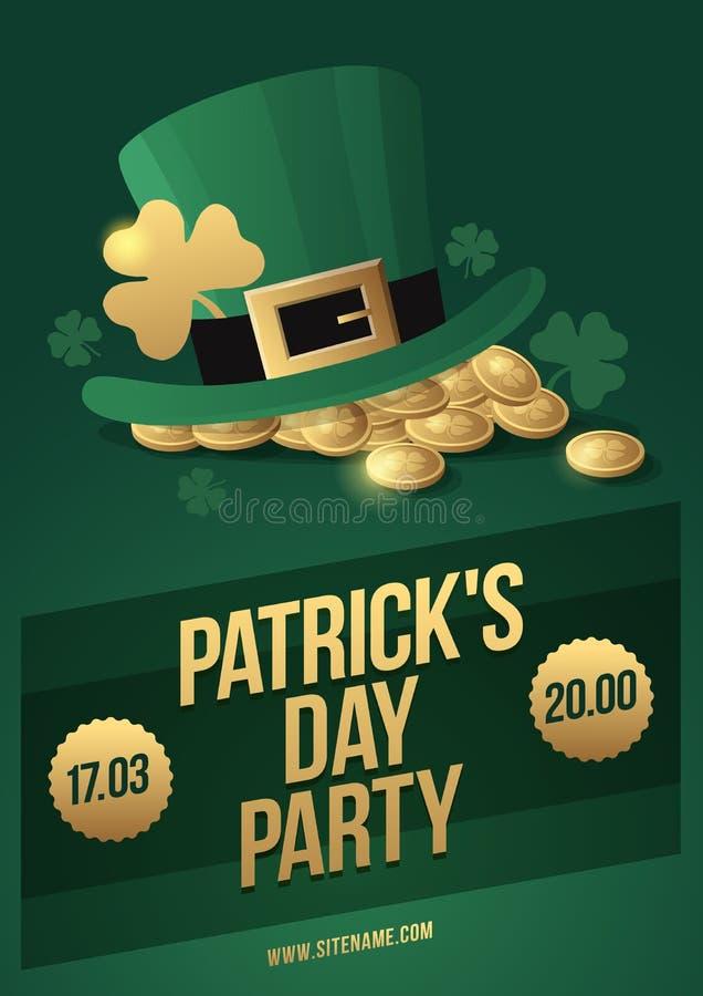 Hut-Kobold, Klee und Münzen - Symbole von St- Patrick` s Tag Plakat, zum Iren-St- Patrick` s von Tag zu feiern stock abbildung