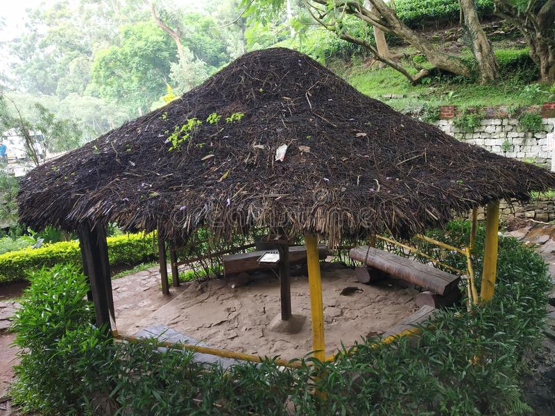 Hut in a monkey falls vicinity stock images