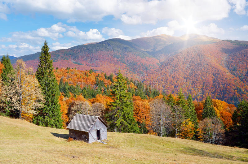 Hut in a mountain forest. Autumn Landscape. Autumn landscape with colorful forest. Hut in the mountains. Sunny Day stock photography