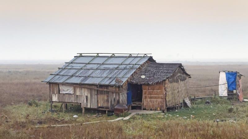Hut Myanmar. Myanmar shacks by rail from Yangon to Bago stock photography