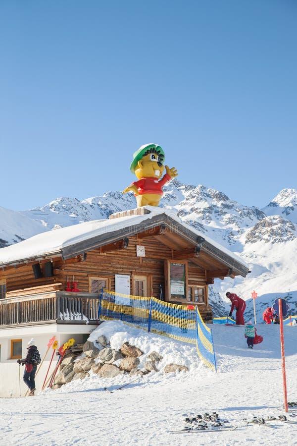 Free Hut Of Mountain Ski School In Serfaus, Austria Stock Photography - 49396842