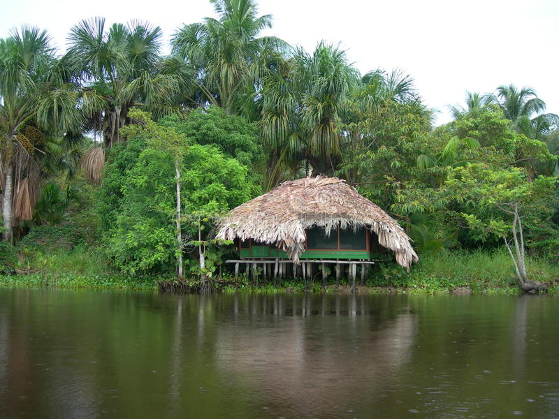 Hut on Orinoco river royalty free stock photography