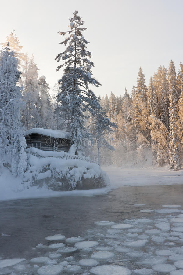 A hut beside a pond royalty free stock photos