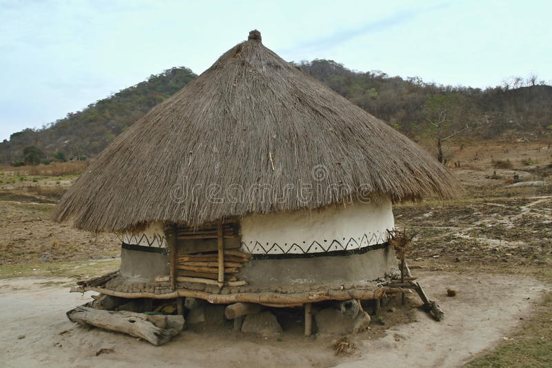 Hut of the poor natives, Mozambique. One hut of the poor natives, Mozambique stock photography