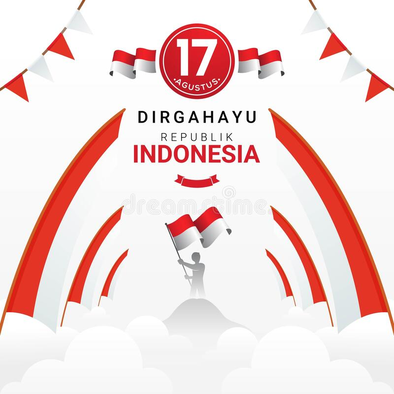 happy indonesia independence day greeting card stock