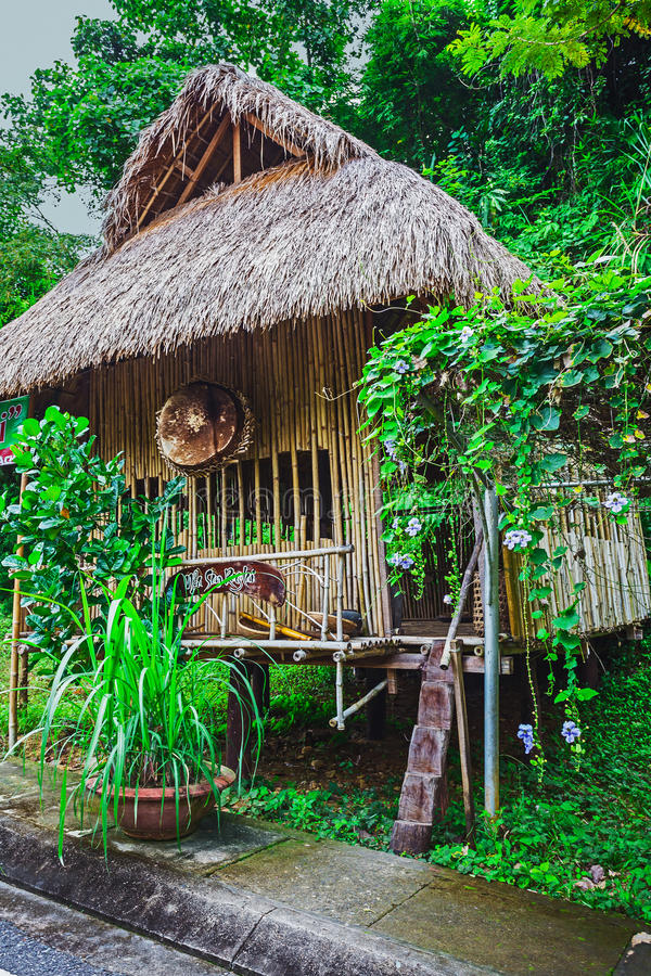 Hut on the road in the jungle on the Phuket in Thailand royalty free stock photo