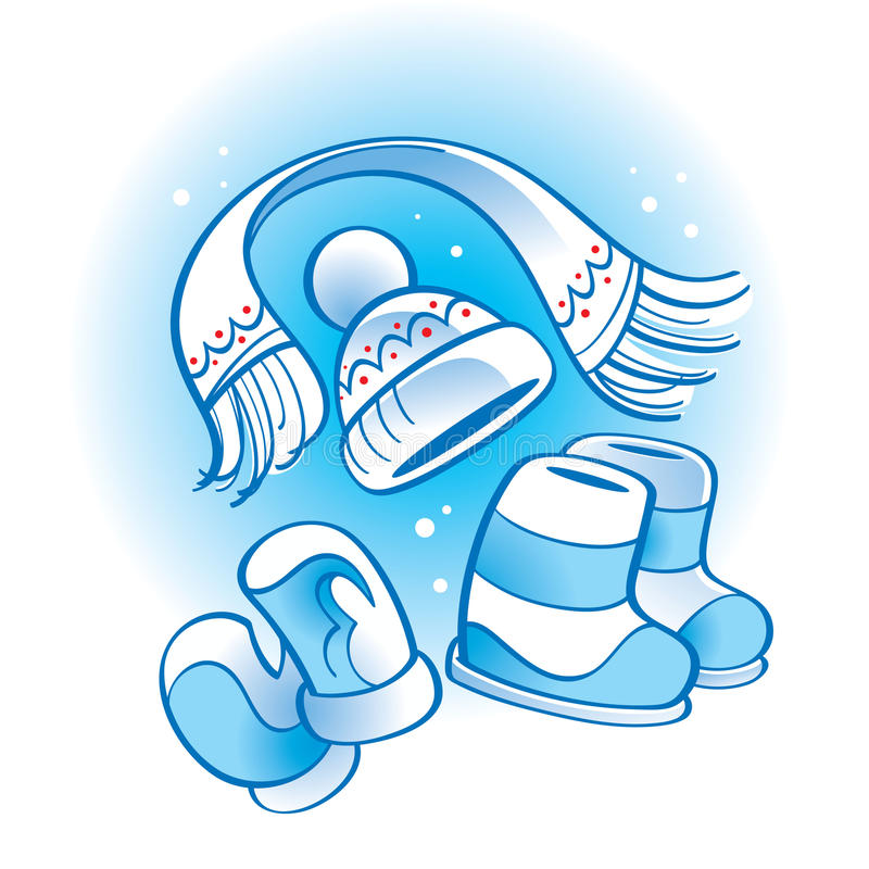 Hut-Schalmatten der Winter-Abnutzung gesetzte lizenzfreie abbildung