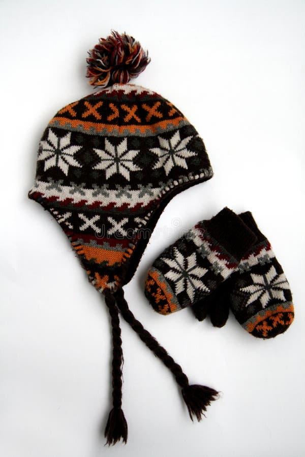 Hut, Schutzkappe und Handschuhe stockbilder