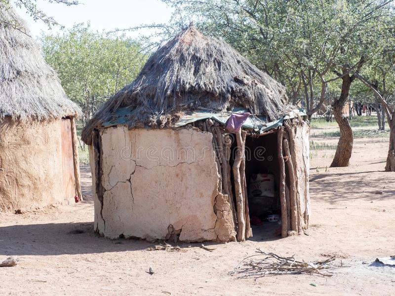 Hut of the tribe of Himba, northern Namibia royalty free stock photo