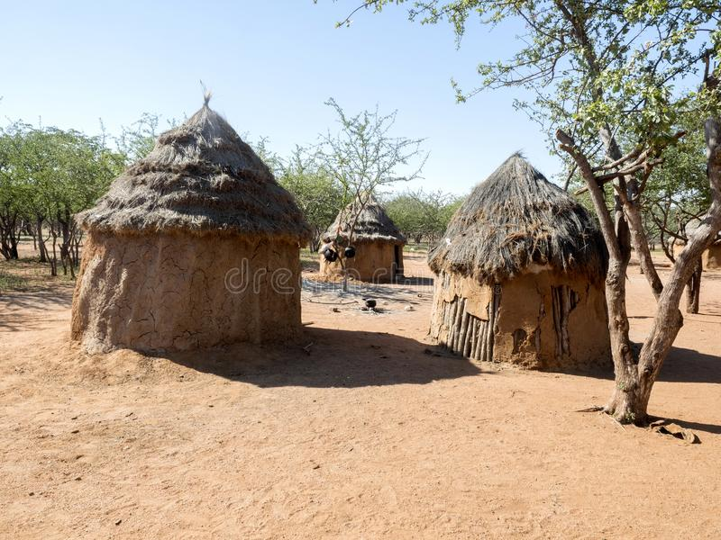 Hut of the tribe of Himba, northern Namibia royalty free stock images