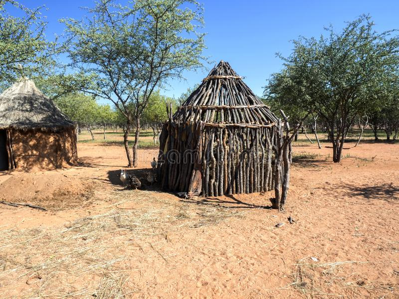 Hut of the tribe of Himba, northern Namibia stock photography