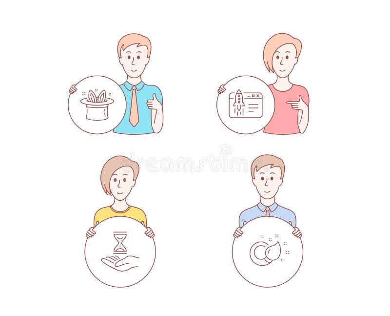 Hut-Trick, Anfangsgeschäft und Zeitsanduhrikonen Pinselzeichen Magischer Hut, Produkteinführungsidee, Sanduhr Vektor vektor abbildung