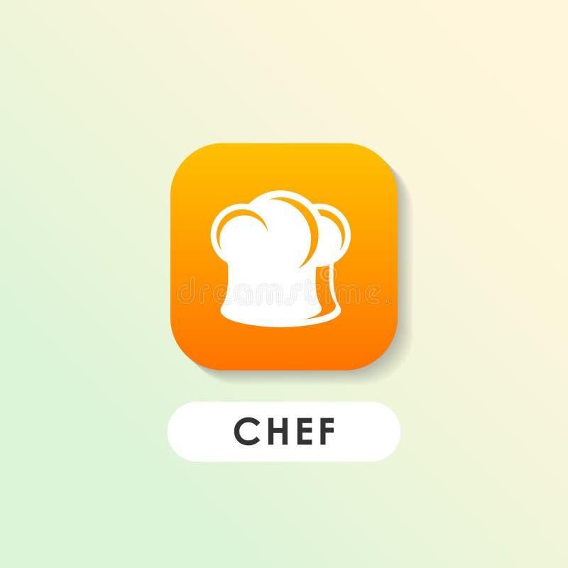 Hut-Vektorikone des Kochs s Cheflogo-Designschablone stock abbildung