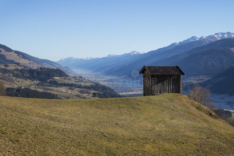 Hut with view on Kitzbüheler Alpen, Tirol. Hut with view on snowy Kitzbüheler Alpen, Tirol, Austria stock images