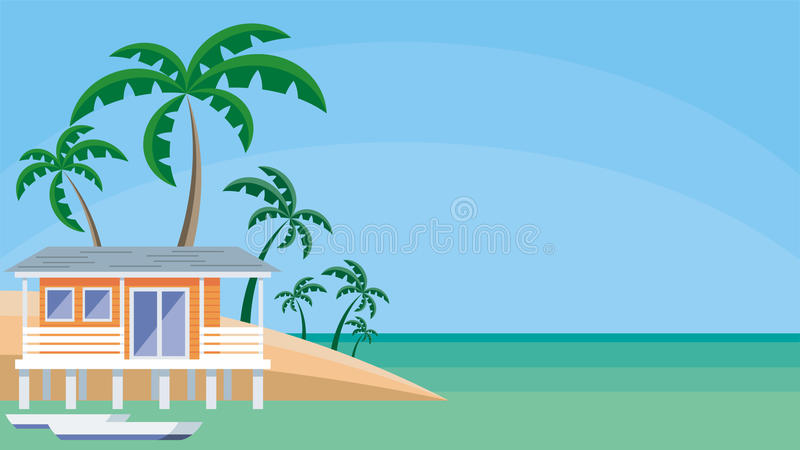 the hut at water royalty free illustration