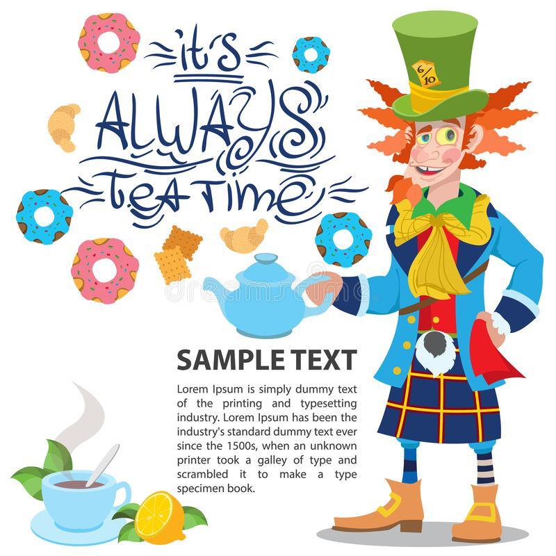 Hutmacher mit einer Teekanne Illustration zu den der Märchen Alices Abenteuern im Märchenland Schablone mit Platz für Text fü stock abbildung