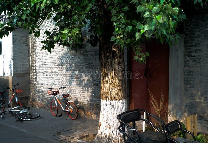 Hutong et vieilles maisons dans Pékin du centre image libre de droits