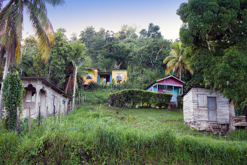 Huts along the road in a sunny day. Jamaica stock photo